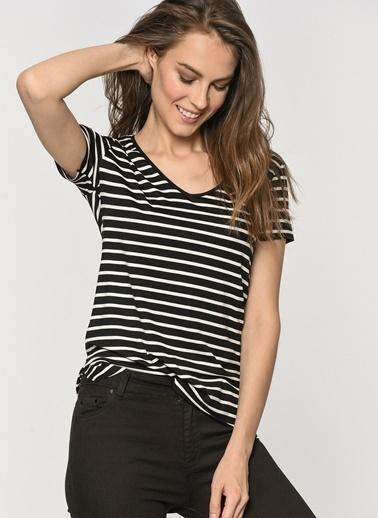 Loves You Siyah-Beyaz Çizgili T-Shirt Siyah